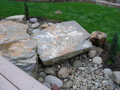 Santiam River Rock  with Idaho Mountain Slab - dry creekbed - Rexius